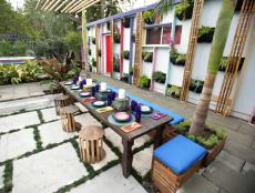 Multicolored Tropical Patio With Vertical Garden