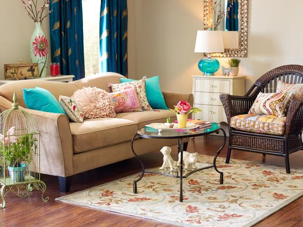 turquoise living room accents photo page hgtv 15906