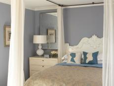 Contemporary Blue Bedroom With Canopy Bed