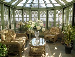 Green-Trimmed Sunroom