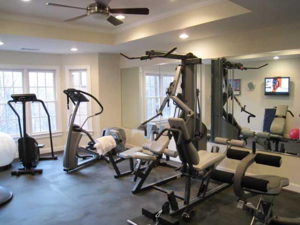 Manly home gyms hgtv Living room gym