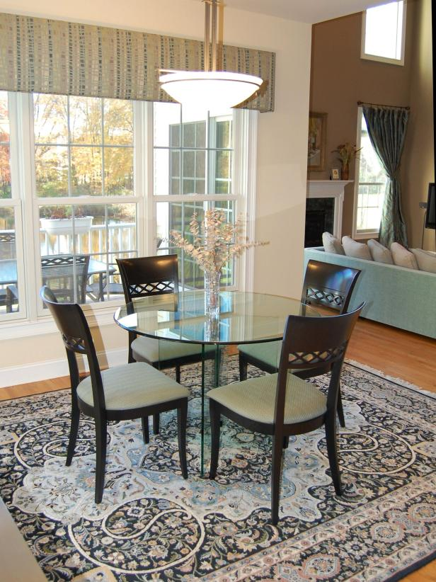 Dining Room With Traditional Area Rug And Contemporary
