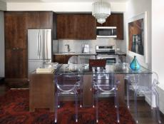 The dynamic kitchen space accommodates a variety of tasks, from food prep to work-from-home responsibilities.