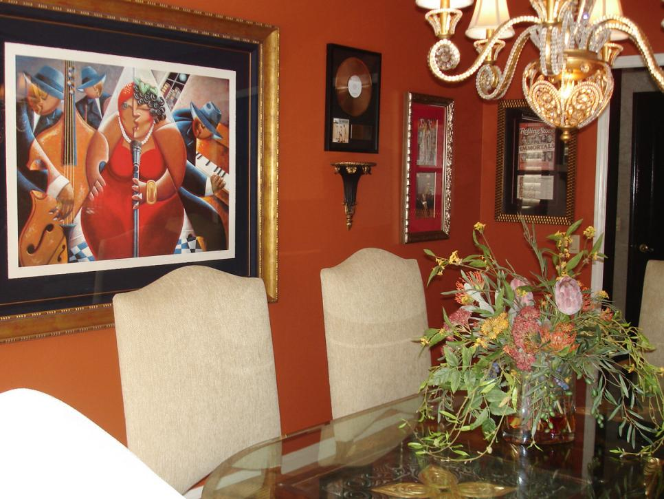 Orange Dining Room with Abstract Art & Framed Record
