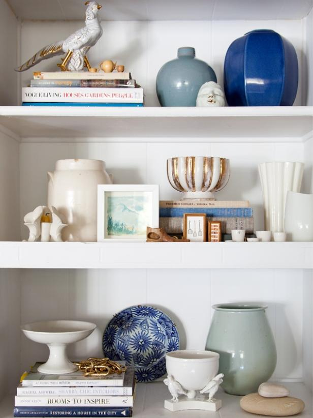Pottery and Accessories on White Shelves