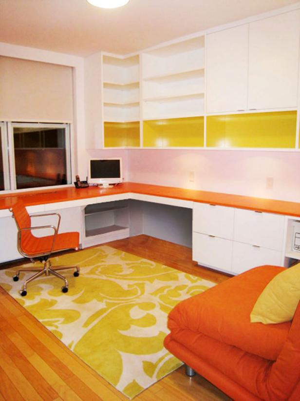 White Contemporary Home Office With Orange Furniture