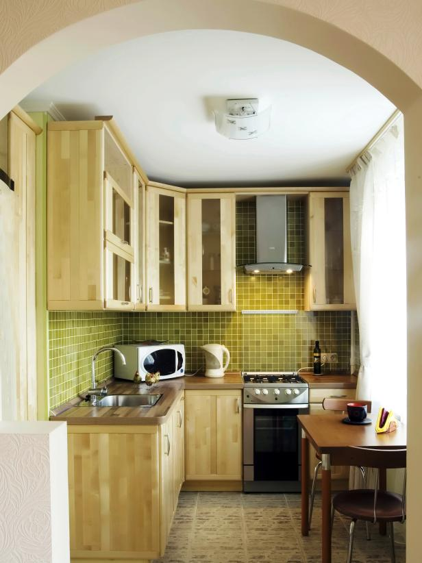 High Quality Small Kitchen With Green Tile Backsplash