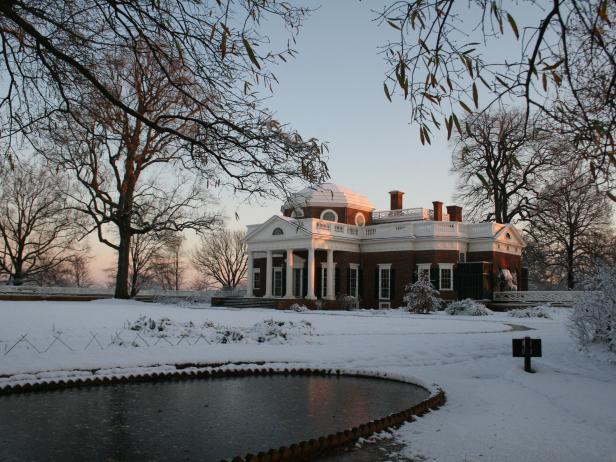 Snowy Mountaintops of Monticello, Thomas Jefferson's Home
