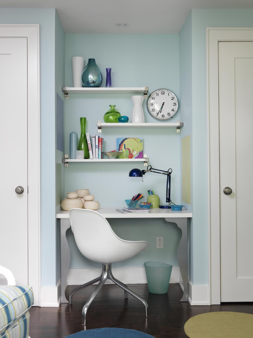 Contemporary Desk With Blue and Green Accents