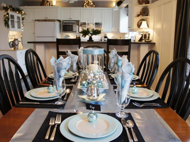 Black, White and Silver Holiday Table