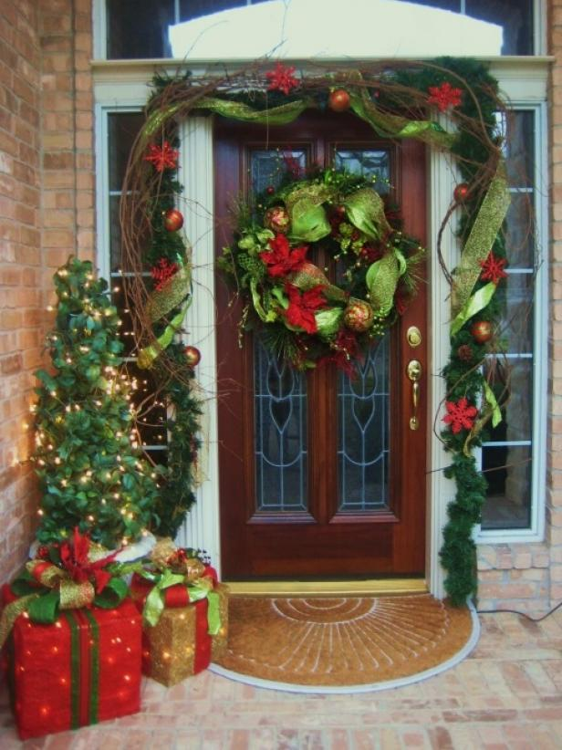 view the gallery - Front Door Entrance Christmas Decoration