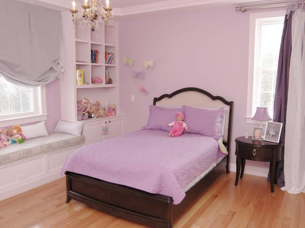 Transitional Purple Girl's Bedroom