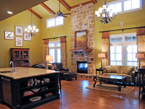 Split Living Room and Kitchen With Large Stone Fireplace