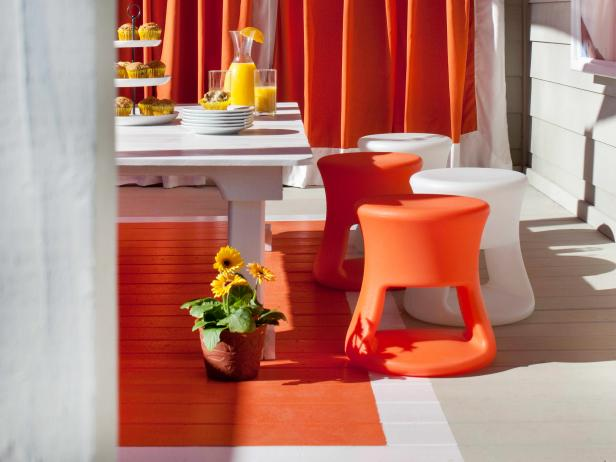 White and Orange Dining Area