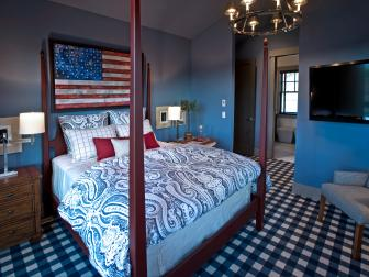 Americana Themed Red, White, and Blue Bedroom