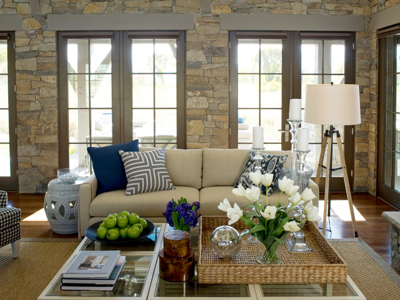 Contemporary Stone Living Room With Navy And Green Decor
