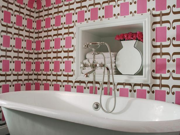 Brighten Up Your Bathroom With Vibrant Art Deco Themed Pink Wallpaper