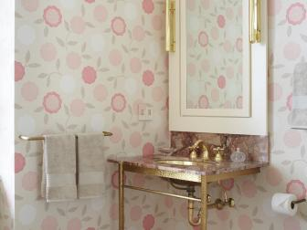 Bathroom Vanity and Floral Wallpaper