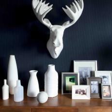 Faux Moose Head & Smooth White Vases
