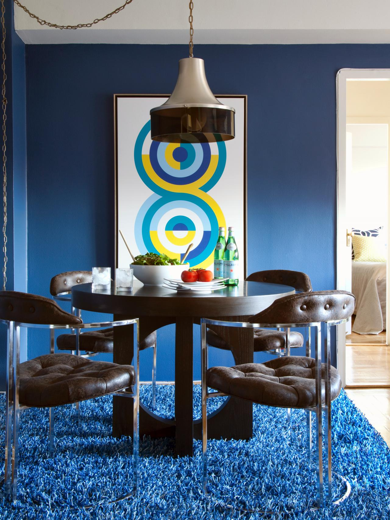 Contemporary Dining Room With Dark Wood Table And Blue Shag Carpet