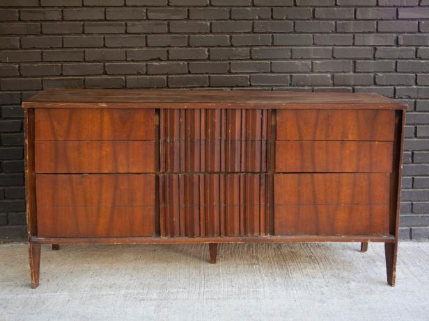 This 1960s dresser was picked up from a flea market for $35. In its existing state, it sported a dark, worn-in, dated finish.