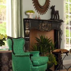 Traditional Armchair and Mantel