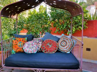 Moroccan Daybed With Large, Boho-Style Pillows