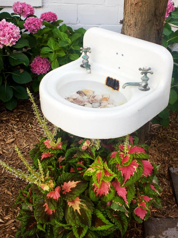 Create A Birdbath From A Salvaged Sink Hgtv