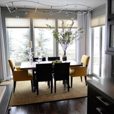 Contemporary Gray Dining Room With Track Lighting
