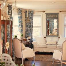 Blue And Cream French Style Living Room