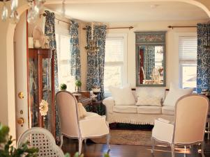 Blue and Cream French Living Room