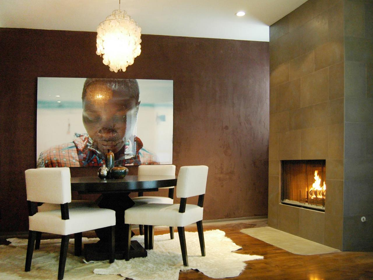 Modern Dining Room With Brown Suede Wall
