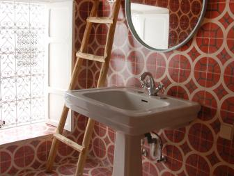 Moroccan Half Bathroom in Red