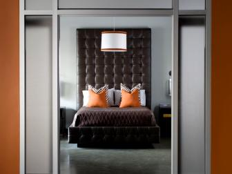 A Brown Padded Headboard in a Contemporary Bedroom