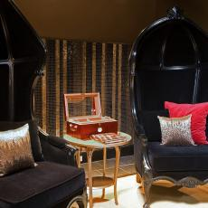 Black Balloon Chairs In Asian Inspired Sitting Area