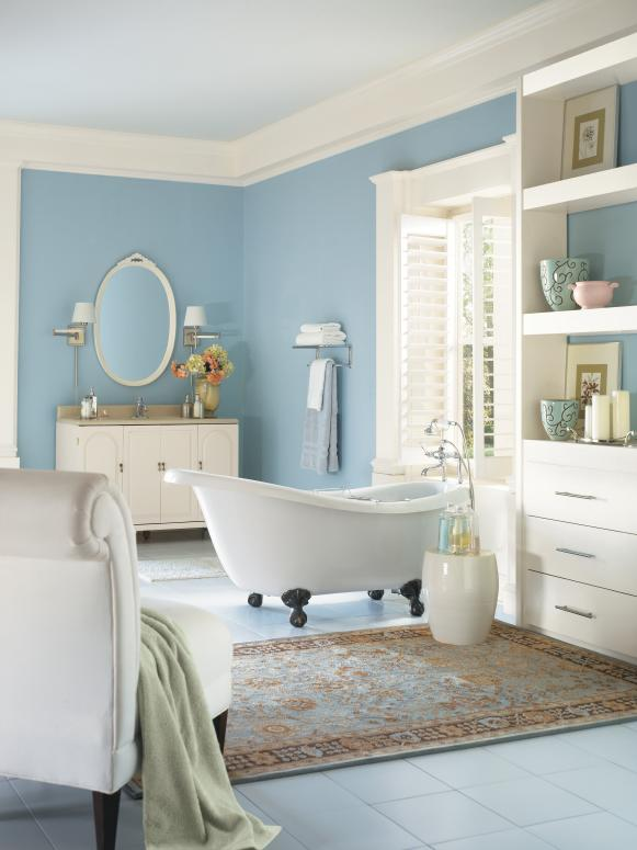 Traditional Bathroom With Soft Blue And White Color Palette