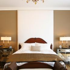 Contemporary Brown Bedroom With Chandelier