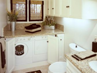 Transitional White Bathroom and Laundry Room