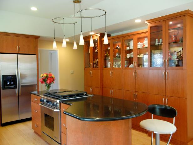 Yellow Contemporary Kitchen With Custom Wood Shelving