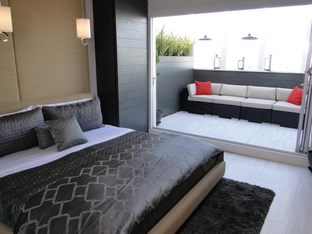 Zen-Style Gray Bedroom With Patio Access