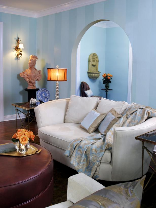 Traditional Blue Living Room With White Sofa