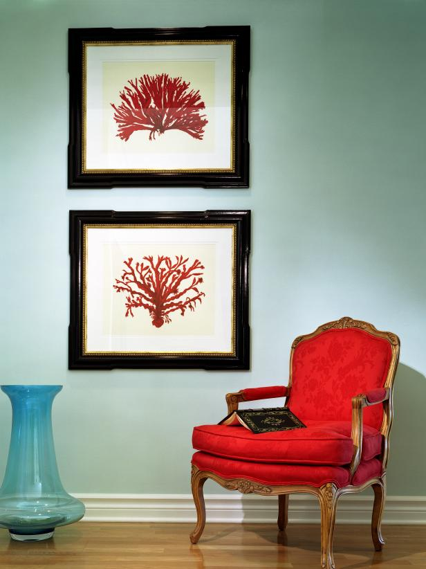 Red Chair with Framed Art