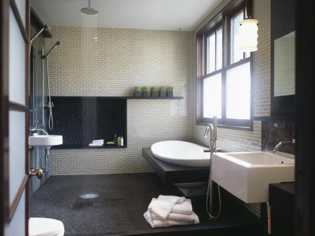 Asian-Inspired Spa Bath With Rain Shower and Freestanding Tub