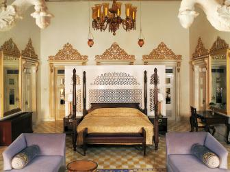 Elaborate Indian Bedroom With Lavender Sofas
