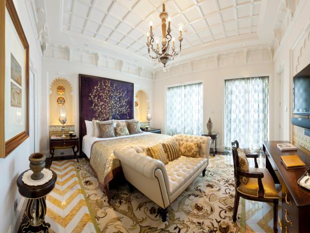 Ornate Gold and White Master Bedroom