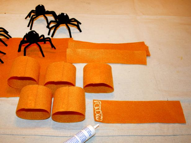 Cut Felt To Make Spider Napkin Rings