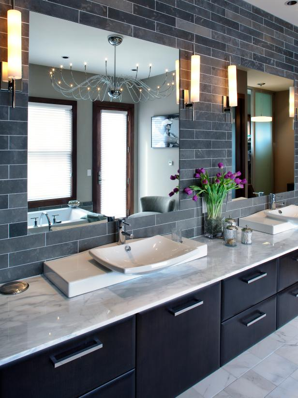 Contemporary Double-Vanity Bathroom With Gray Tiled Wall