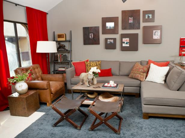 Photo page hgtv for Red and brown living room furniture