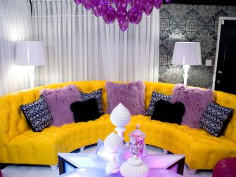 Eclectic Living Room With Purple and Yellow Furnishings