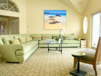 Yellow Coastal Living Room With Oversized Green Sofa